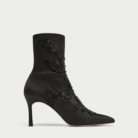 b25542358361 Zara Emborided Satin High Heel Ankle Boots